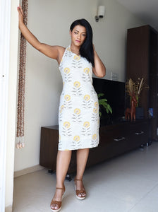 Off White and Yellow Floral Printed Linen Cotton Shift Dress