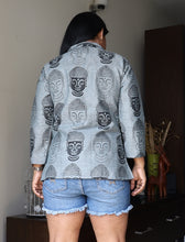 Load image into Gallery viewer, Grey Buddha Printed Cotton Linen Jacket