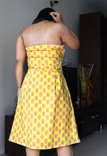 Load image into Gallery viewer, Yellow Printed Fit and Flare Pure Cotton Dress
