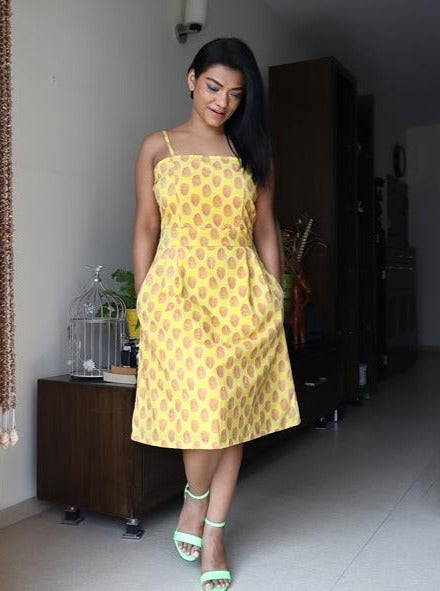 Yellow Printed Fit and Flare Pure Cotton Dress