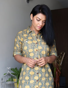 Olive Green and Mustard Floral Cotton Shirt Dress with Belt