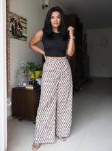 Load image into Gallery viewer, Beige Block Printed Pure Cotton Wide Leg Pants