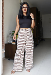 Beige Printed Cotton Wide Leg Pants
