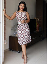 Load image into Gallery viewer, Grey Dabu Printed Cotton Dress