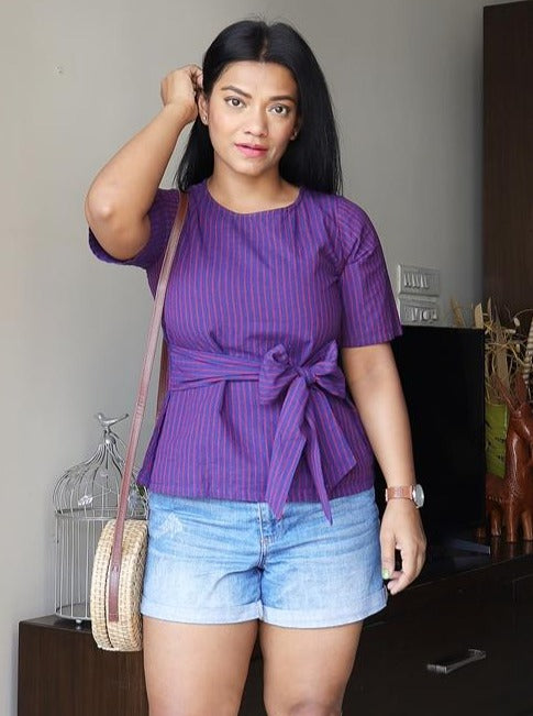 Ink Blue and Purple Stripped Handloom Cotton Top