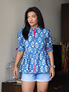 Indigo Fit and Flare Cotton Top