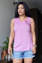 Load image into Gallery viewer, Lilac Handloom Cotton Top