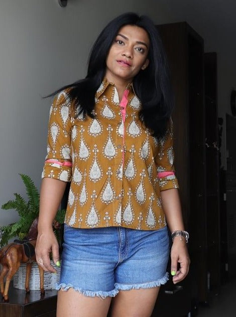 Mustard Cotton Block Printed Shirt