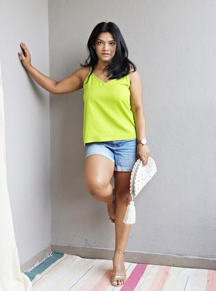 Neon Green Handloom Cotton Top
