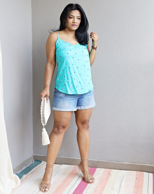 Aqua Blue Printed Cotton Viscose Spaghetti Top