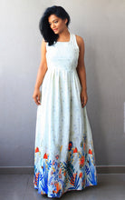 Load image into Gallery viewer, Off White Maxi Dress with Floral Border