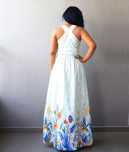 Off White Maxi Dress with Floral Border