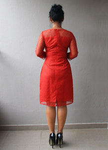 Red Lace Sheath Dress