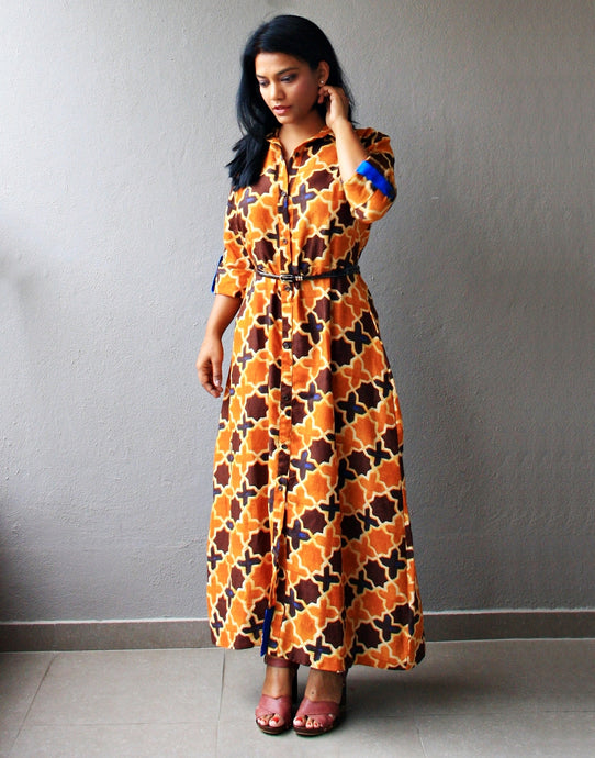 Mustard and Brown Cotton Maxi Dress with Belt