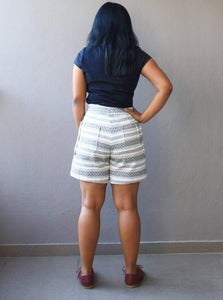 Off White Handloom Cotton Shorts