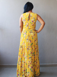 Mustard Floral Printed Tiered Maxi Dress
