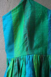 Emerald Green Kantha Work Peplum Top
