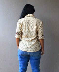 Off White Handloom Cotton Shirt