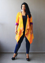 Load image into Gallery viewer, Yellow Ikat Cotton Silk Waterfall Shrug