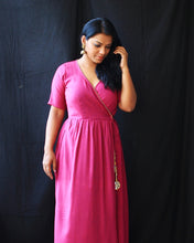 Load image into Gallery viewer, Purple Wrap Cotton Maxi Dress