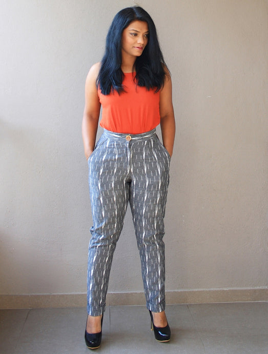 Grey Ikat Cotton High-Waist Slim Fit Pants