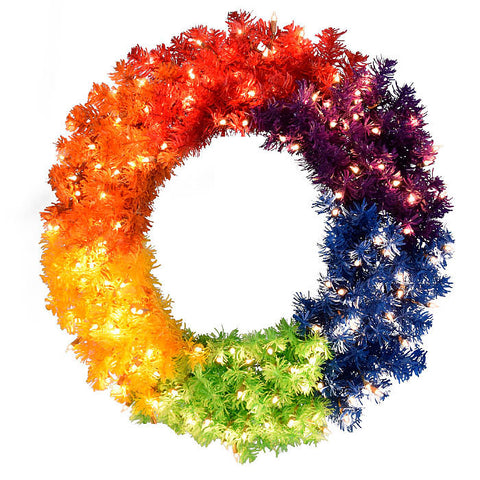 Holiday Rainbow Wreath
