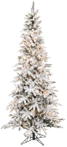 Pencil Flocked & Lighted Pine Tree (7.5 Feet)