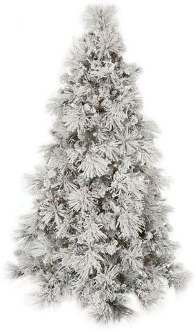 Flocked Lighted Long Needle Pine Tree (7.5 Feet)
