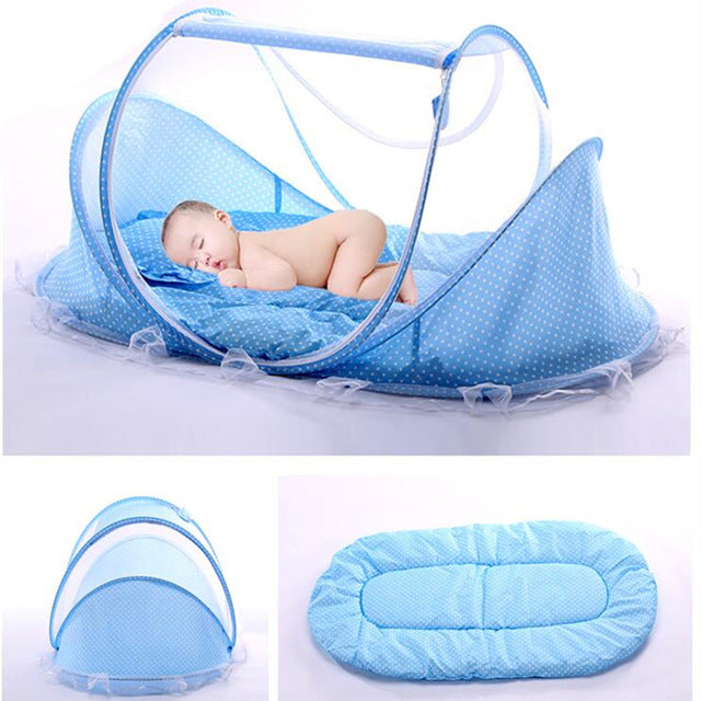 Portable & Foldable Baby Crib/Bed With Pillow Mat Set and With Netting - Shop AWESOME!