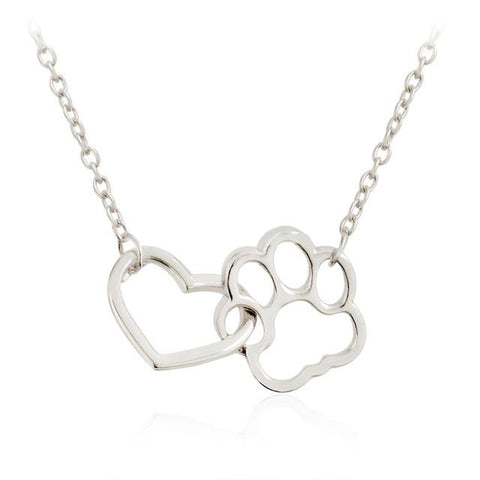 Pet Paw to Heart Necklaces Love Pendant