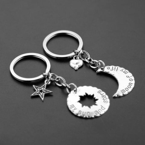 1 Pair His&Hers Khal/Khaleesi Key Chain - Key Ring Moon Of My Life & My Sun and Stars Pendant