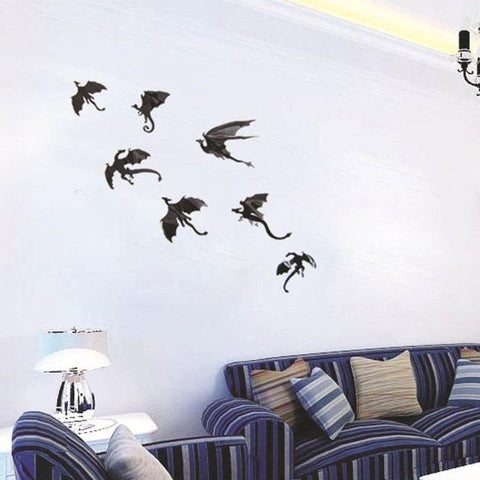 7pcs/set Game of Thrones 3D Dragons Wall Art Decals / Wall Stickers