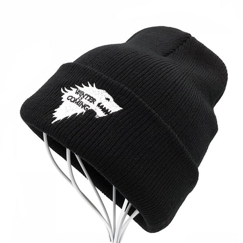 Game of Thrones Winter Knitted Beanie Hats - Embroidered Dire Wolf Hats for Men and Women