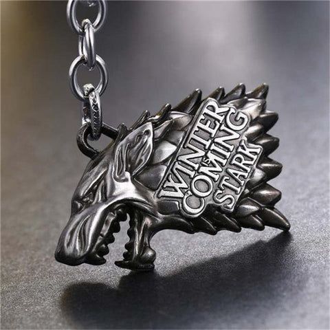 Game of Thrones Keychain With Wolf Head House Stark - Song Of Ice And Fire Key Rings Holder