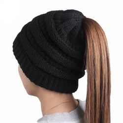 Womens Ponytail Cap Warm Soft Stretchy Beanie Knitted Hat Messy High Bun Ponytail Beanie Hat - Shop AWESOME!