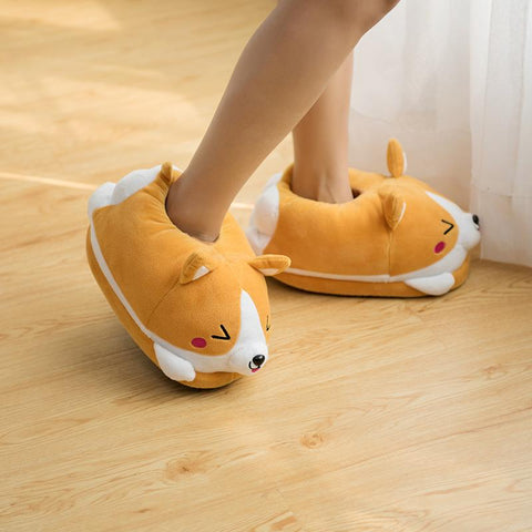 Shiba Inu Dog Slippers With Double Warm Plush