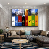 Canvas Picture Wall Art House With Different Game Of Thrones Symbols