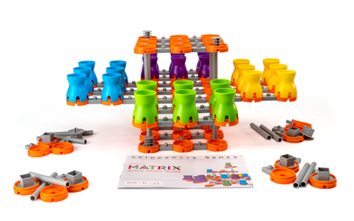 Four-player starting configuration with 10 extra pieces for each player