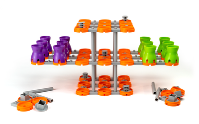 Two-player starting configuration with 10 extra pieces for each player
