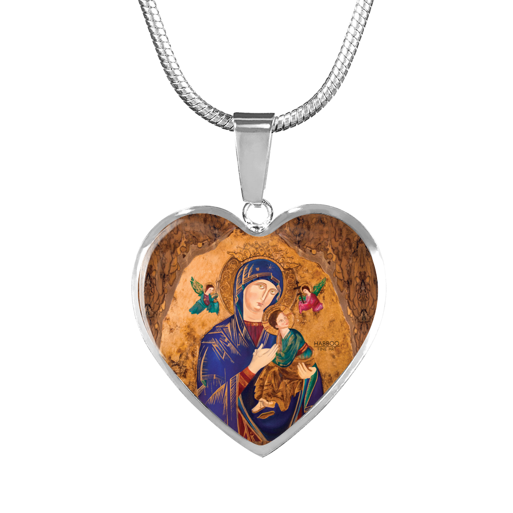 Our Lady of Perpetual Help Heart Pendant Bangle Charm