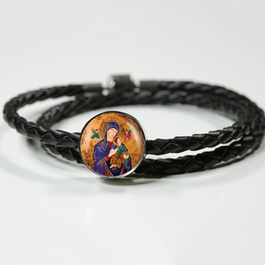 Our Lady of Perpetual Help Double-Wrapped Circle Charm Leather Bracelet