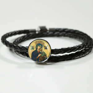 Our Lady of Perpetual Help, 3rd ed. Woven Leather Charm Bracelet