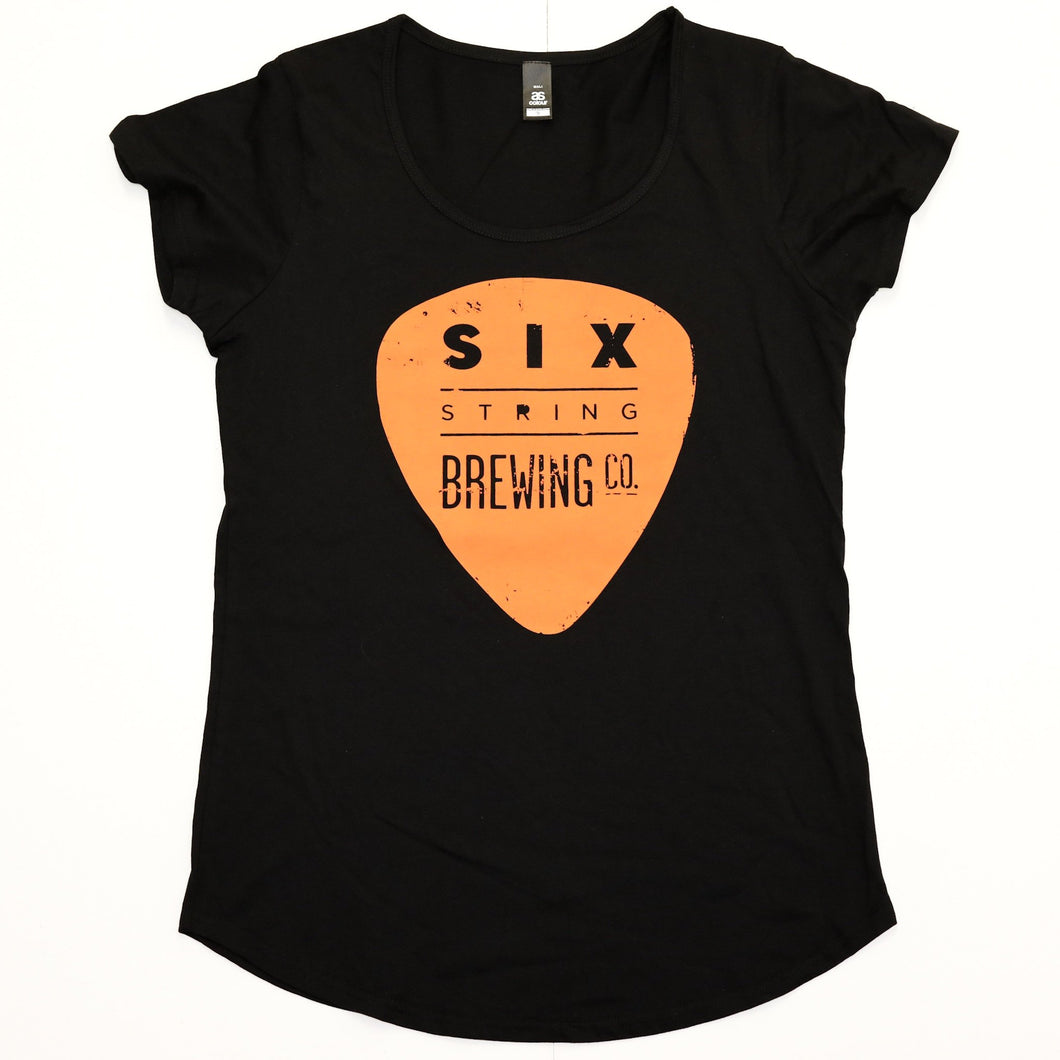 T-Shirt Womens Black and Orange Small
