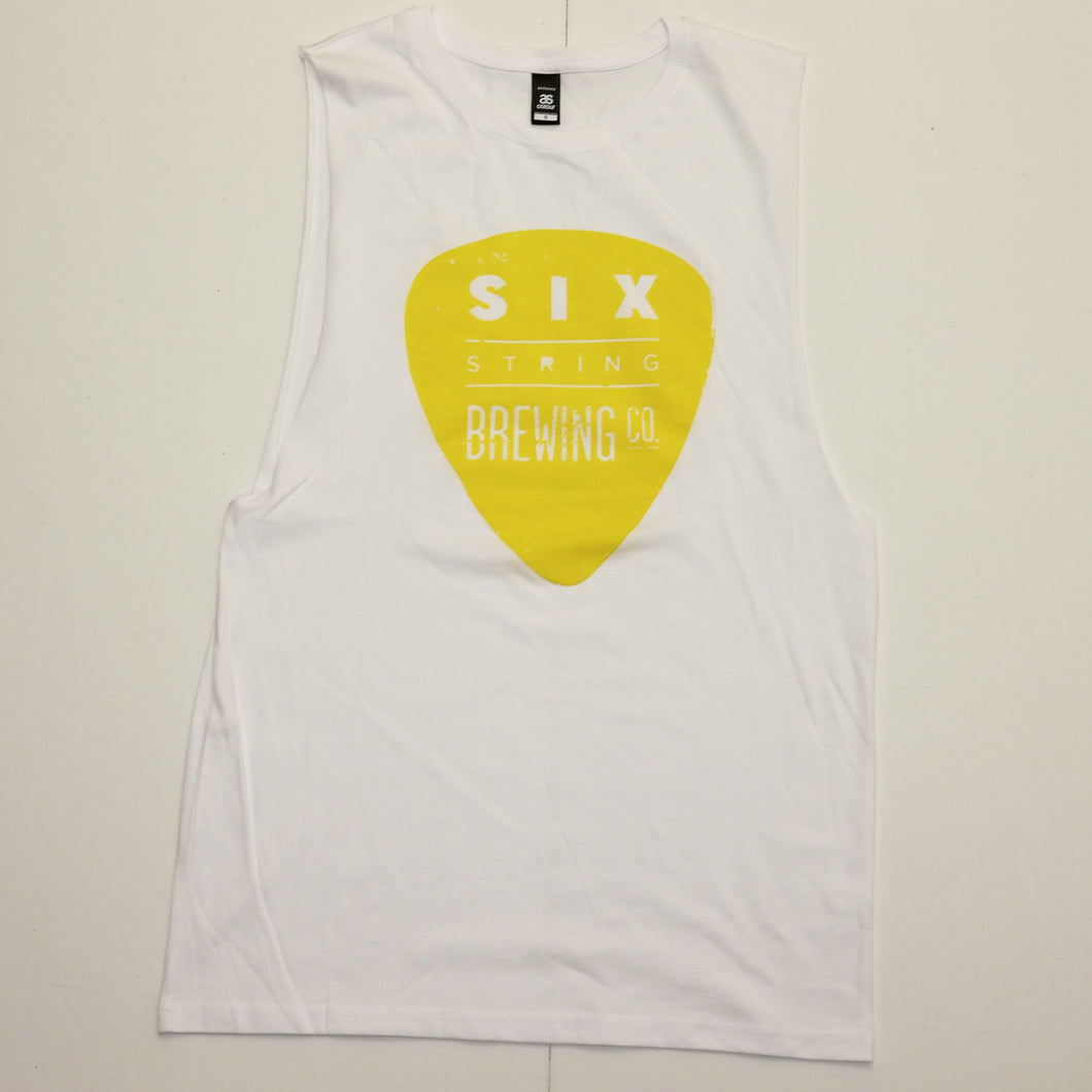 Tank Unisex White and Yellow Small