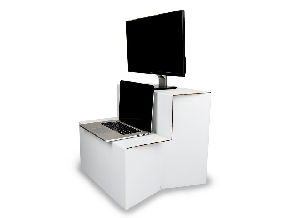 Portable Standing Desk by Ghostand Side View Laptop Dual