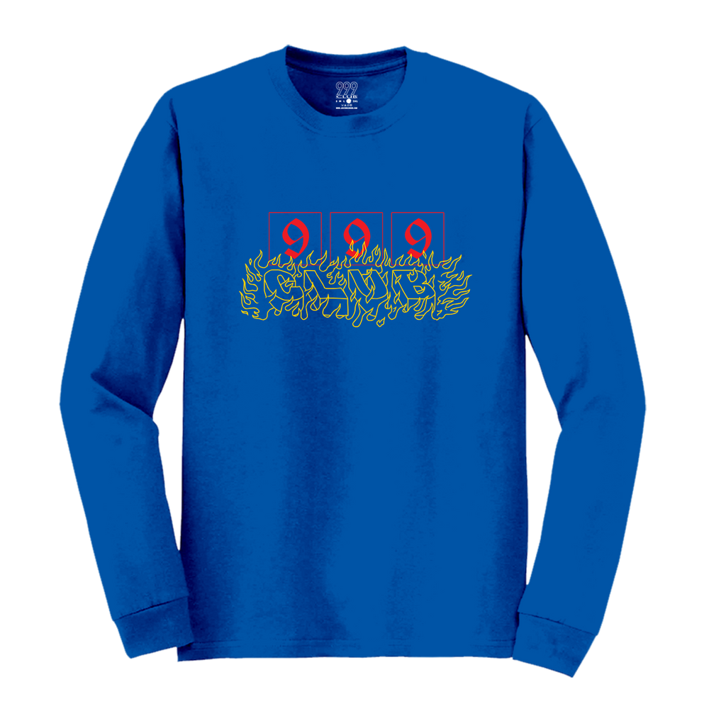 CAUTION; FLAMMABLE LONG SLEEVE - BLUE