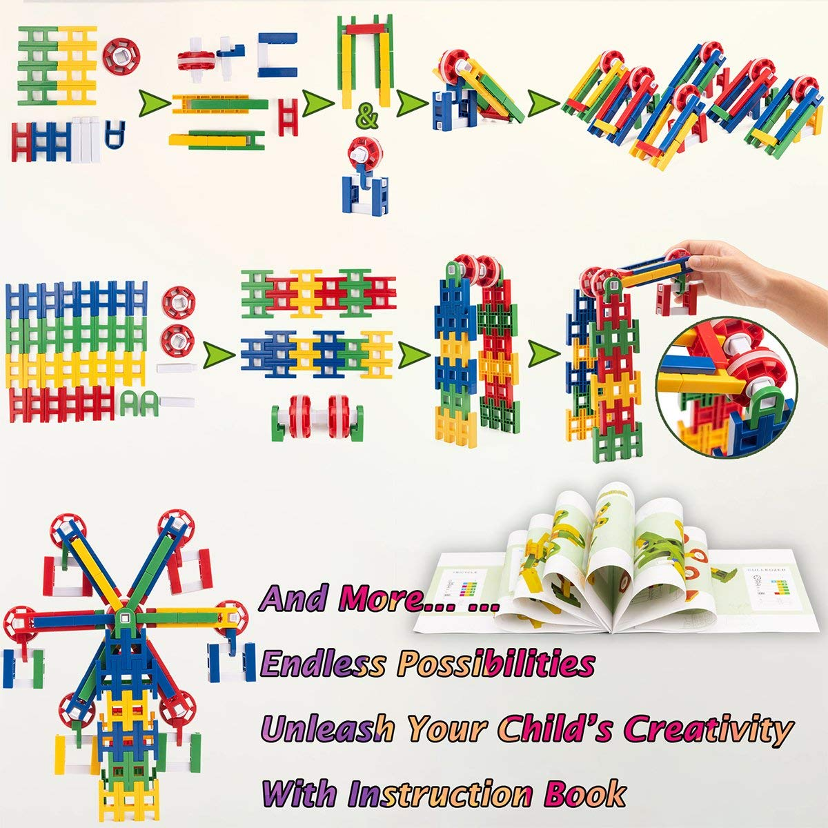 8ca24d641 ... 208 Pieces STEM Learning Toy Engineering Construction Building Blocks