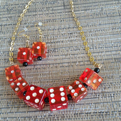 Vintage Bakelite Dice Necklace and Earrings