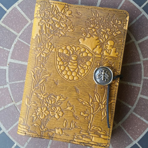 "Bee Garden 6""x 9"" Large Marigold Yellow Leather Journal by Oberon Design"