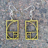 Golden Ratio Fibonacci Laser Cut Wood Earrings 136 Green Tree Jewelry View 2